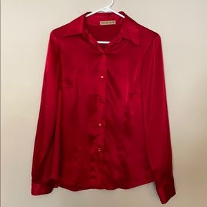 VINTAGE Red Silky Button Down